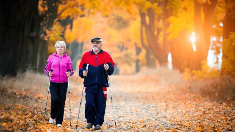Paar beim Nordic Walking im Herbstwald